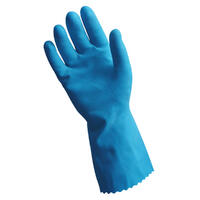 Silver Lined Rubber Gloves, Blue