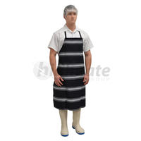 Full Butchers Apron, Denim - Blue/White Stripe