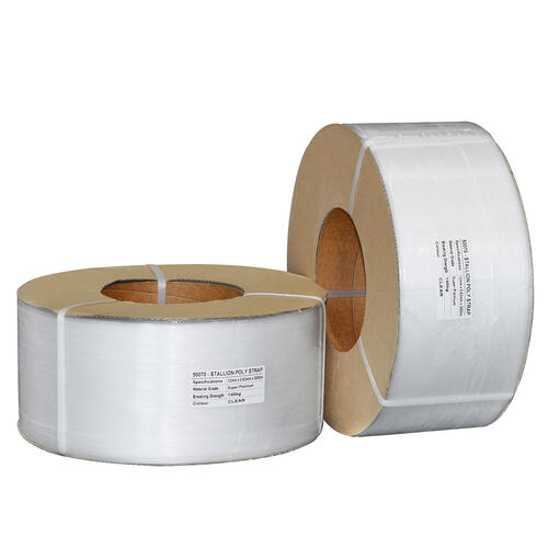 Premium Machine Poly Strapping, 12mm x 0.63mm x 3000m - Clear